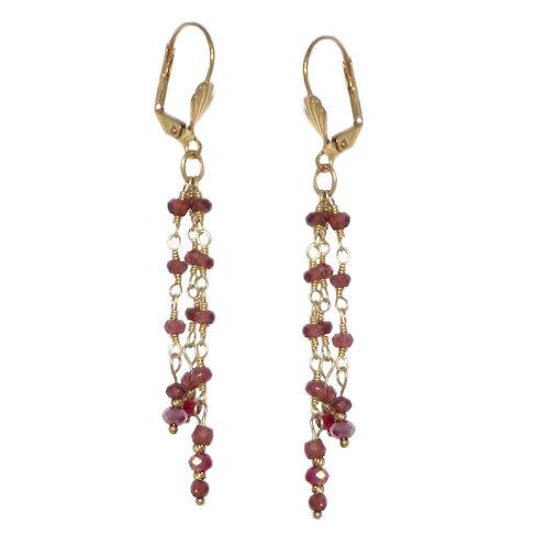Tiny faceted garnet beaded 24 karat chain drop earrings with Czech beads