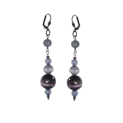 Rhinestone studded Czech glass drop earrings