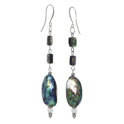 Abalone bead and chain drop dangle earrings