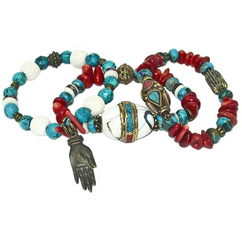 Tibetan inlaid brass and conch shell, jasper, red coral, hand charm