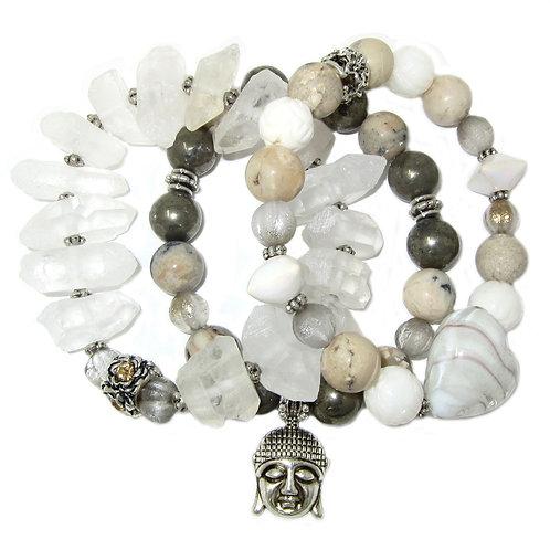 Clear quartz crystals, blown glass,African opal, pyrite, Buddha charm