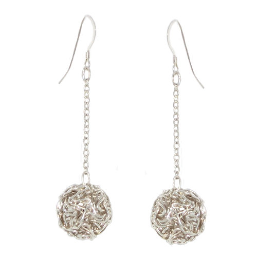 Sterling Silver wire squiggly ball drop earrings