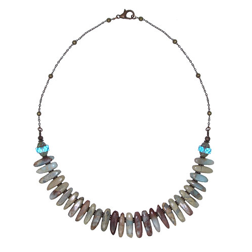 Impression jasper spike collar chain necklace with Czech beads