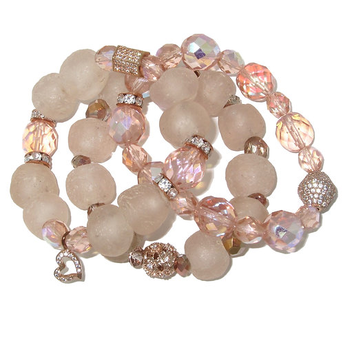 Pink African glass, rose gold pave', Czech crystal beads