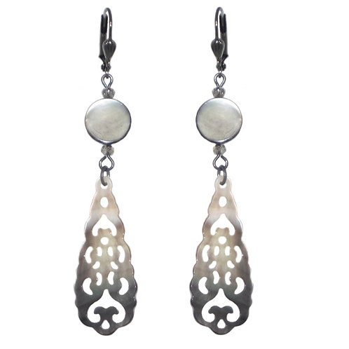 Gray mother of pearl carved filigree drop earrings