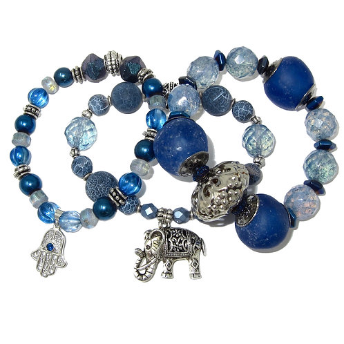 Blue African glass, druzy agate, Czech beads, and silver charms