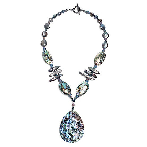 Abalone Pendant, Freshwater Pearl Necklace