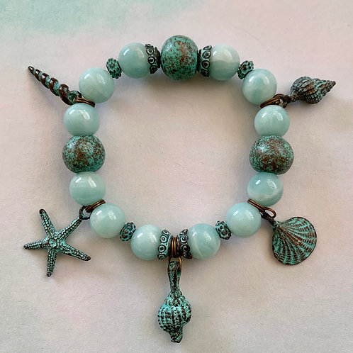 Amazonite and patina beads with verdigris sea charms