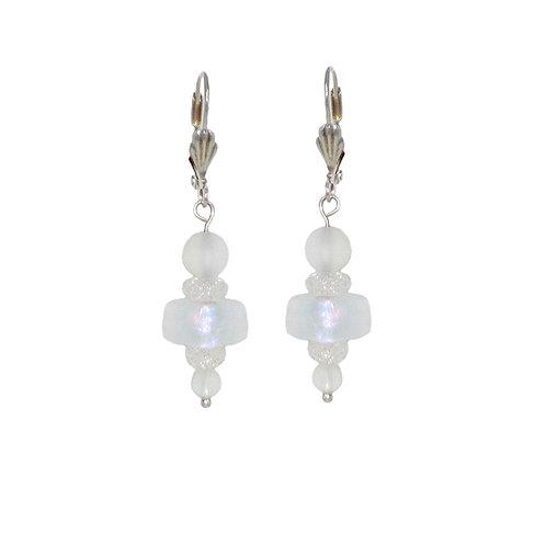 Aurora Borealis hand blown glass beaded drop earrings