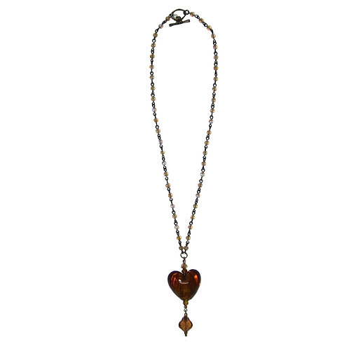 Golden brown blown glass heart on beaded chain necklace