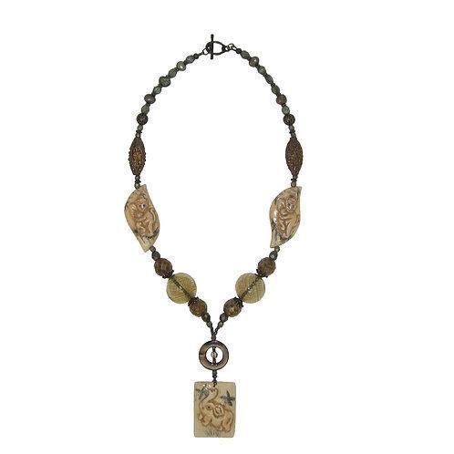 Scrimshaw bone elephant pendant mixed beaded necklace