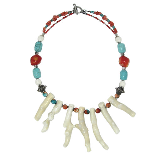 Branch coral and turquoise collar necklace