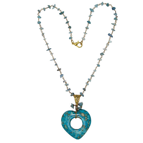 Turquoise magnesite open heart pendant on turquoise chip gold chain necklace