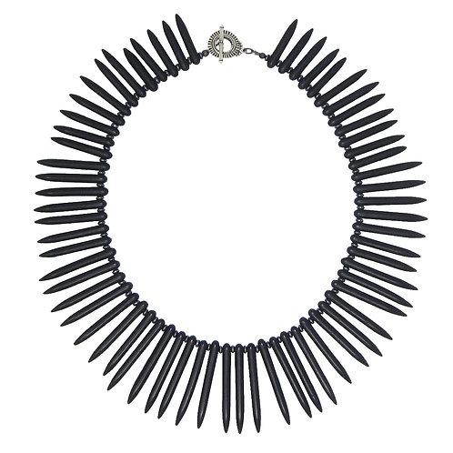 Black magnesite spike collar necklace