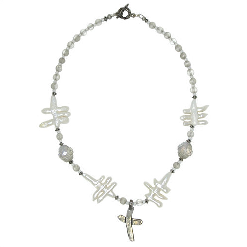 Sterling silver cross, freshwater pearls,Czech glass bead necklace