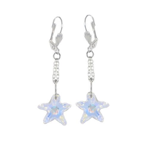 Aurora Borealis Swarovski crystal starfish chain drop earrings