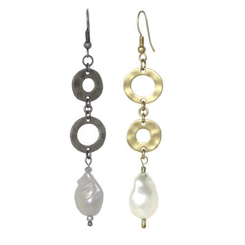 Hammered metal rings freshwater pearl dangle drop earrings
