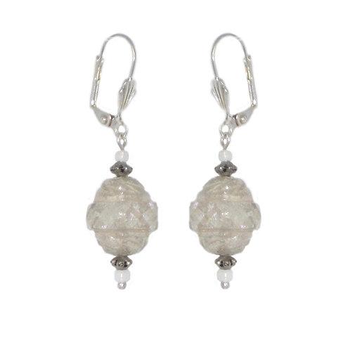 Iridescent silver washed Czech glass beaded drop earrings