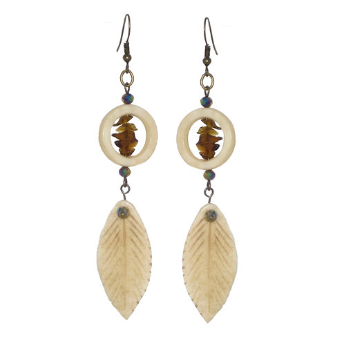 Carved bone feather and ring with glass chips drop earrings