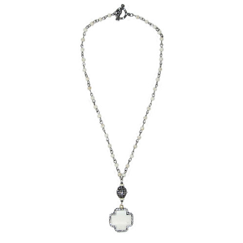 Pave' howlite stone cross on howlite beaded chain necklace