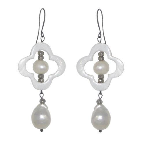 MOP quatrefoil/silver freshwater pearl drop earrings