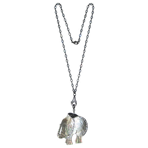 Pave' grey mother of pearl elephant pendant on cubic zirconia chain necklace