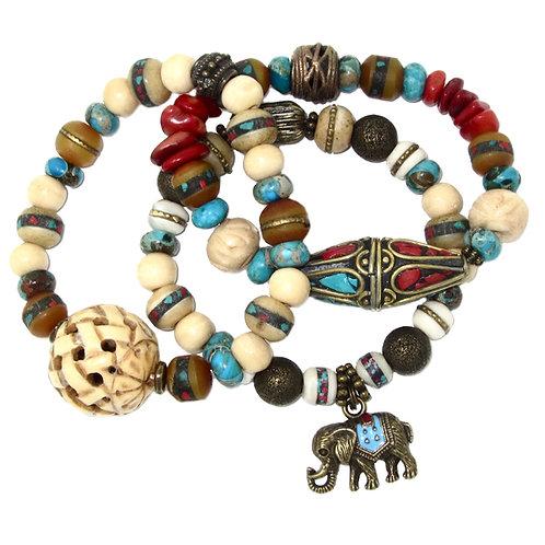 Tibetan inlaid brass, carved bone, jasper, red coral, elephant charm