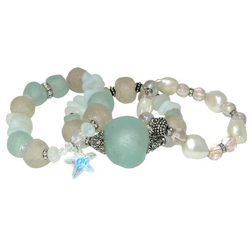 Seafoam and pink African glass, freshwater pearls, Swarovski crystal starfish