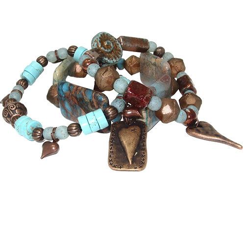 Aqua terra jasper, turquoise, glazed ceramic, Czech glass, copper heart charms