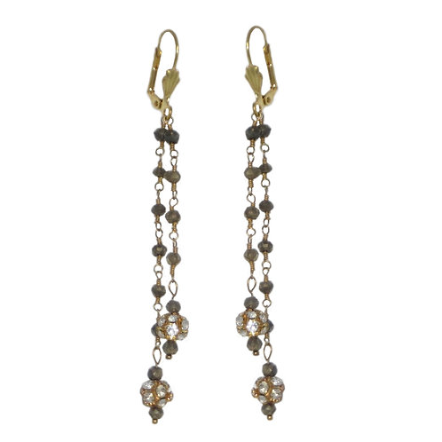Tiny faceted hematite beaded 24 karat chain drop earrings w/rhinestone beads