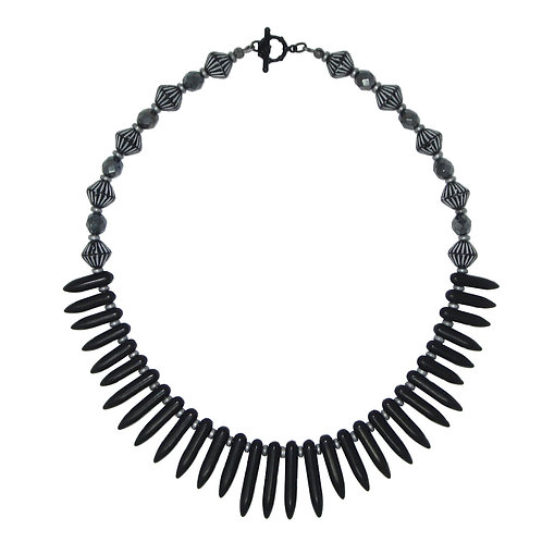 Black magnesite spike and Czech glass bead collar necklace
