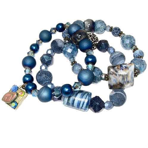 Blue hand blown glass, frosted & druzy agate, glazed ceramic, Czech glass beads