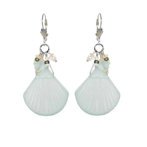 Sea glass and Ethiopian fire opal dangle drop earrings