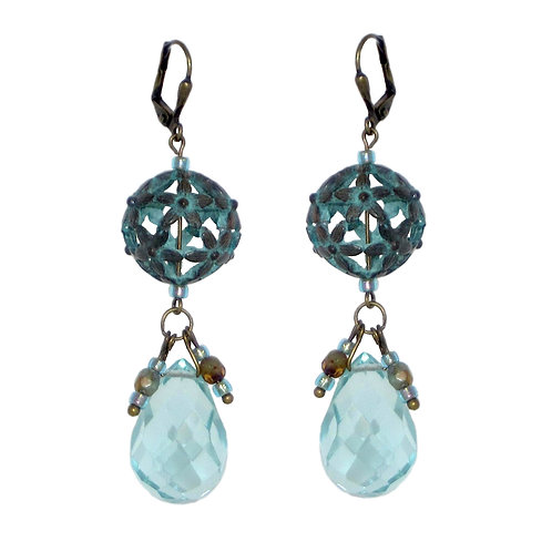 Verdigris floral open sphere crystal drop earrings
