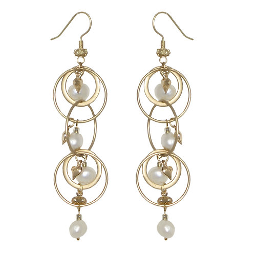 Matte gold metal rings with pearl and heart dangles drop earrings