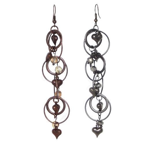 Beaded metal rings and hearts dangle drop earrings