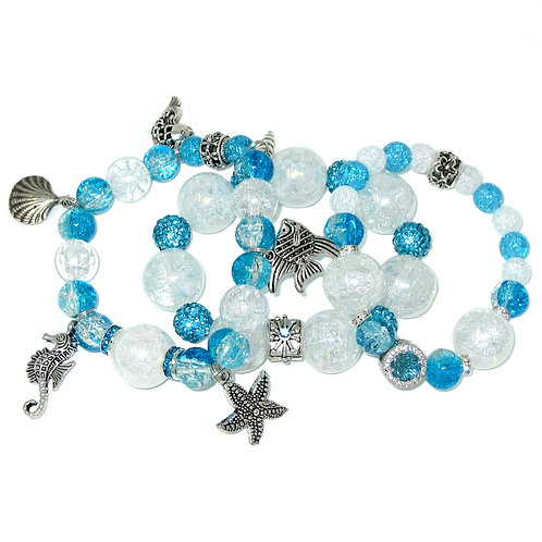 Turquoise and AB crackle glass, pave' rhinestones, silver sea charms