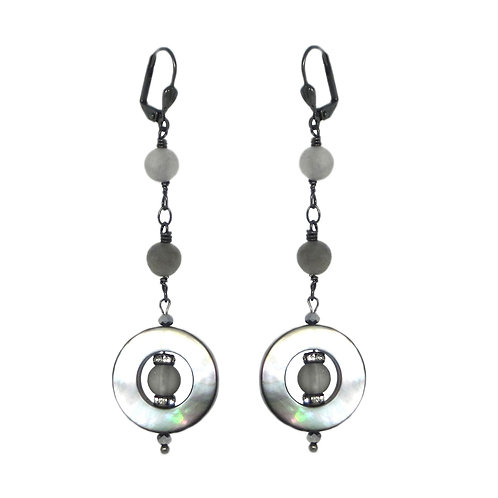 Gray mother of pearl and frosted quartz drop earrings