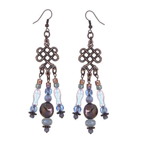 Purple glass and pearl/copper chandelier earrings