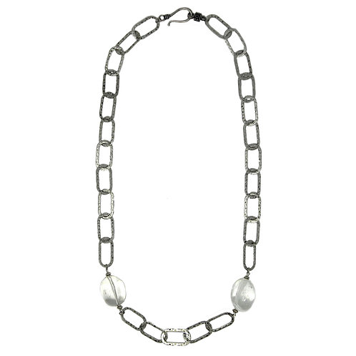 Lightweight hammered large chain necklace with free form quartz crystal beads