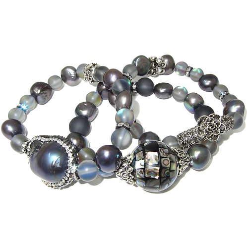 Freshwater pearl, abalone, pave', iridescent beads