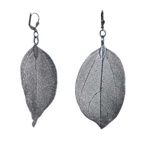 Gunmetal coated real leaf drop earrings