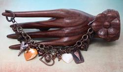 Antique Copper Heart Charm Bracelet