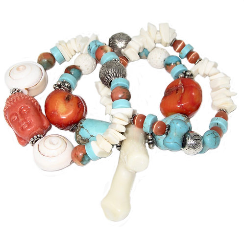Branch and red coral, turquoise howlite, lava stone, bone chips with Buddha bead