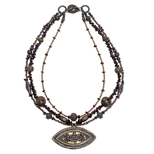 Ethnic mixed metal eye pendant 3 strand garnet necklace