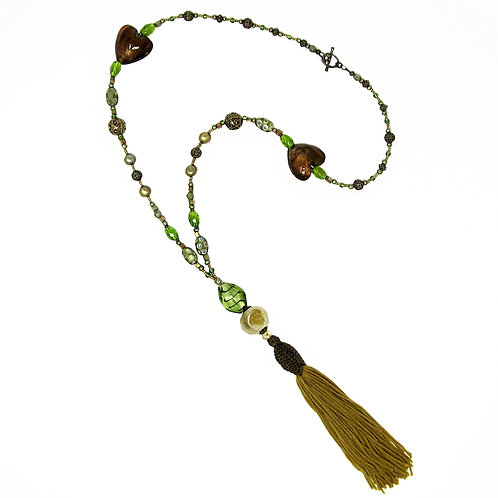 Antique bronze/green mixed bead vintage tassel necklace