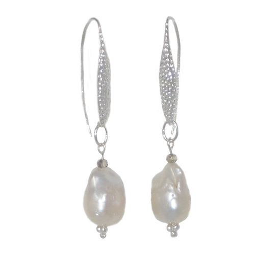 Silver hammered metal leaf and freshwater pearl dangle drop earrings