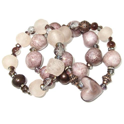 Rose hand blown glass, African glass, Czech glass beads,