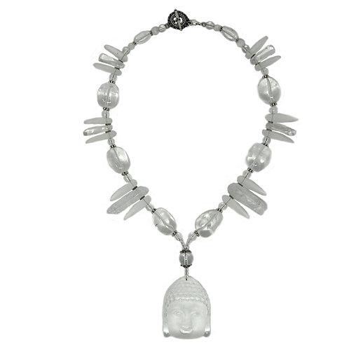 Quartz crystal necklace with Buddha pendant