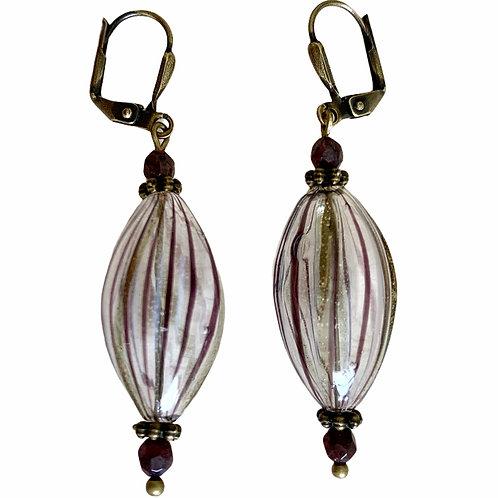 Wine swirled metallic blown glass and drop earrings